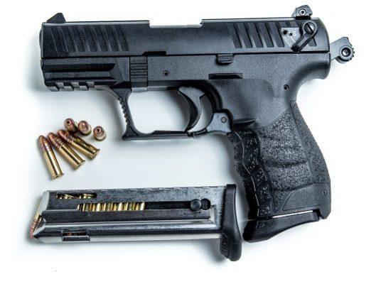 A .22lr  caliber semi-automatic hand gun.